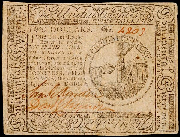 1050: Continental, May 10, 1775, $2, Choice EF
