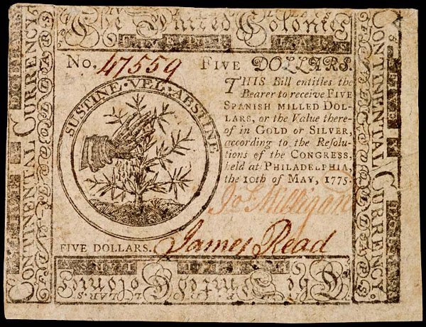 1052: Continental, May 10, 1775, $5, Choice Crisp AU
