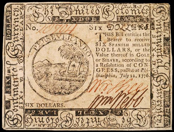 1062: Continental, July 22, 1776, $6, Crisp Uncirculate
