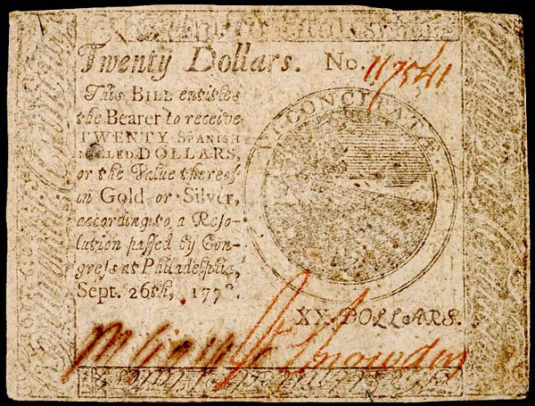 1067: Continental, September 26, 1778, $20, Choice EF