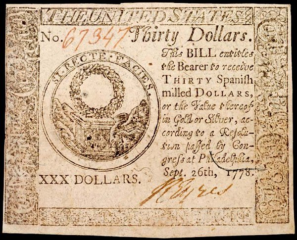 1068: Continental, September 26, 1778, $30, Gem Crisp U