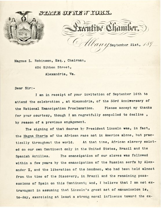 LEVI P. MORTON, Typed Letter Signed as NY Governor