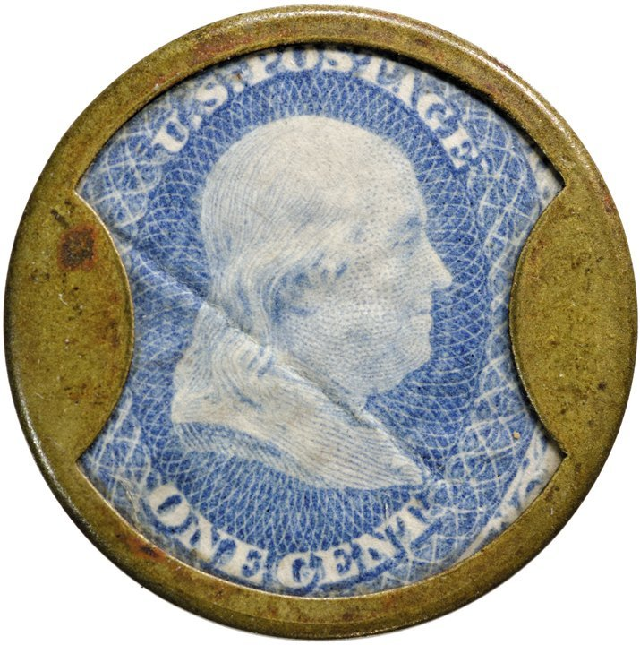 7: Encased Postage Stamp, EP-20, 1¢, LORD + TAYLOR