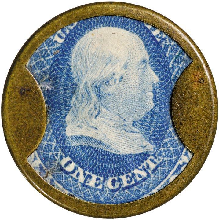 9: Encased Postage Stamp, EP-28, 1¢, N & G TAYLOR