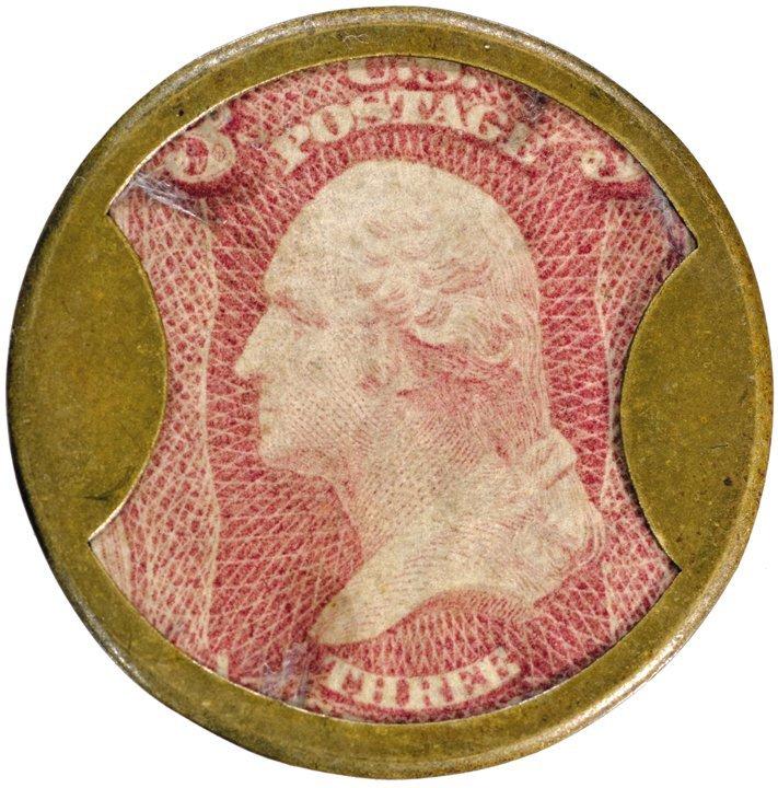 22: Encased Postage Stamp EP-50 3¢ KIRKPATRICK & GAULT