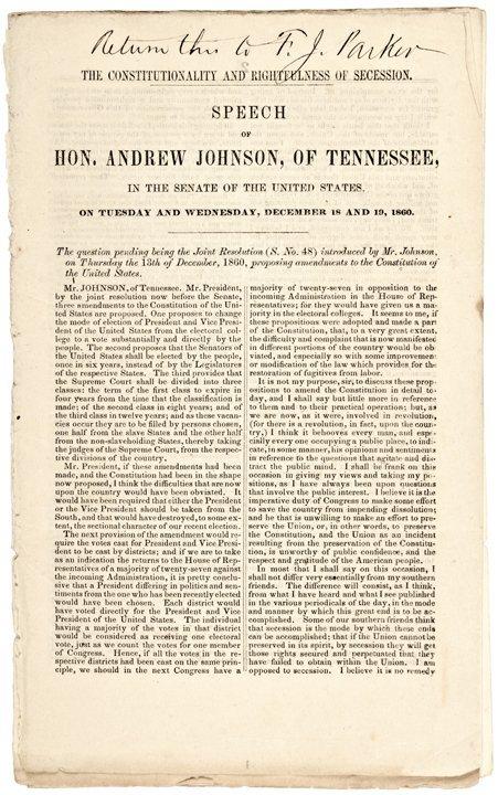 199: Andrew Johnson Speech Against Secession, 1860