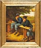 210: Civil War Scene Oil Painting on Wooden Panel