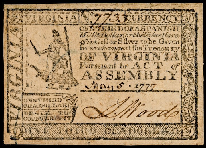 350: Colonial Currency, VA, May 5, 1777, $1/3