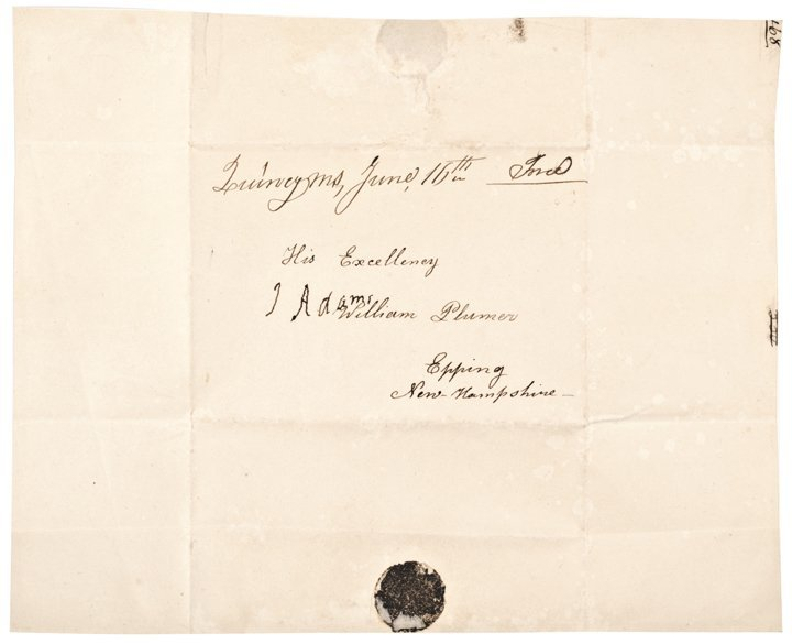 JOHN ADAMS, Signed Free Frank Address Leaf