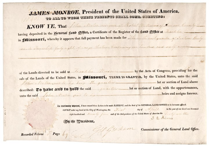 JOHN QUINCY ADAMS, Document Signed as President 1825