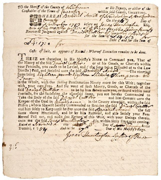 (BENEDICT ARNOLD, III), Legal Document 1754