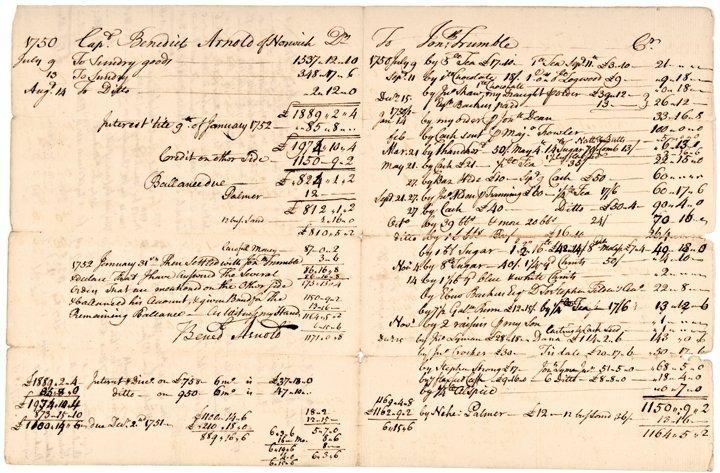 BENEDICT ARNOLD, III, Signed Document 1752