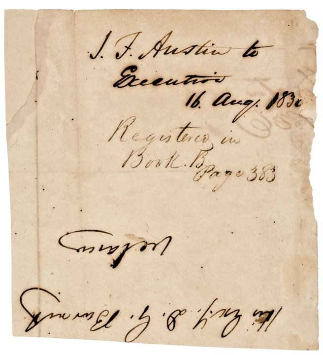 STEPHEN F. AUSTIN, Signature c. 1836