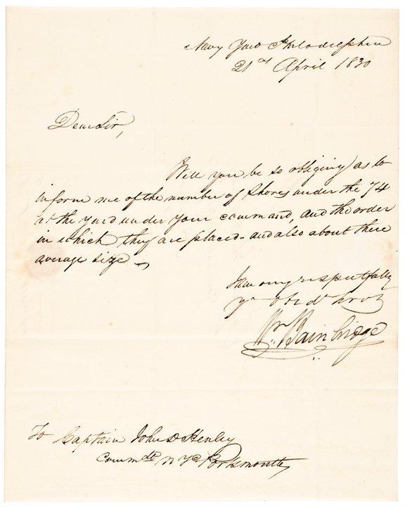 WILLIAM BAINBRIDGE, Autograph Letter Signed 1830
