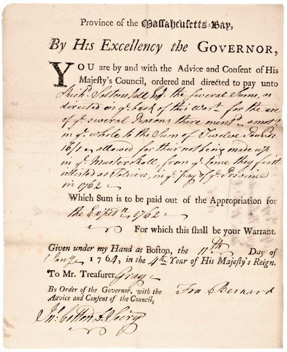 FRANCIS BERNARD, Payment Document Signed 1764