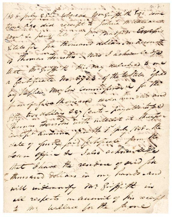 ELIAS BOUDINOT, Manuscript Document Signed 1808