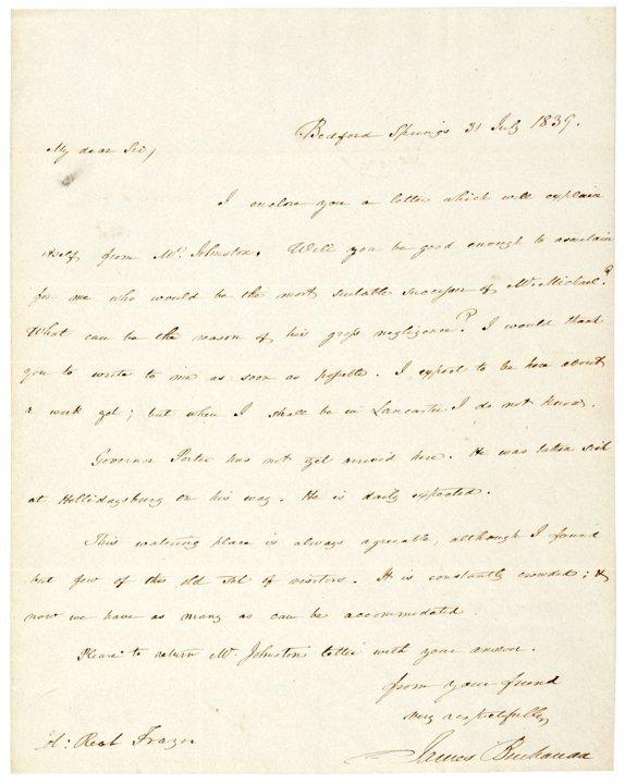 JAMES BUCHANAN, Autograph Letter Signed 1839