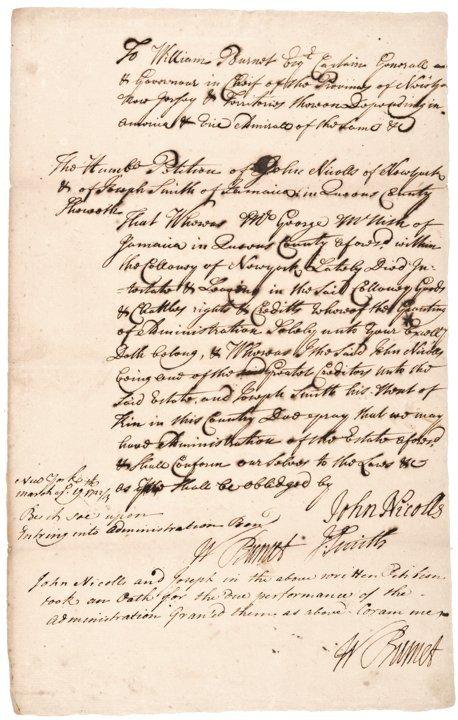 WILLIAM BURNET, Manuscript Document Signed 1723