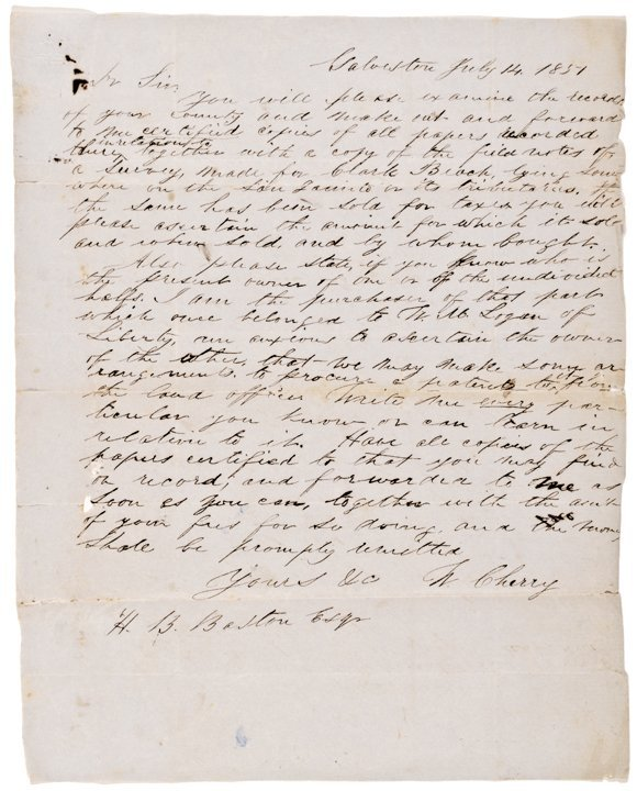 WILBER H. CHERRY, Autograph Letter Signed 1851