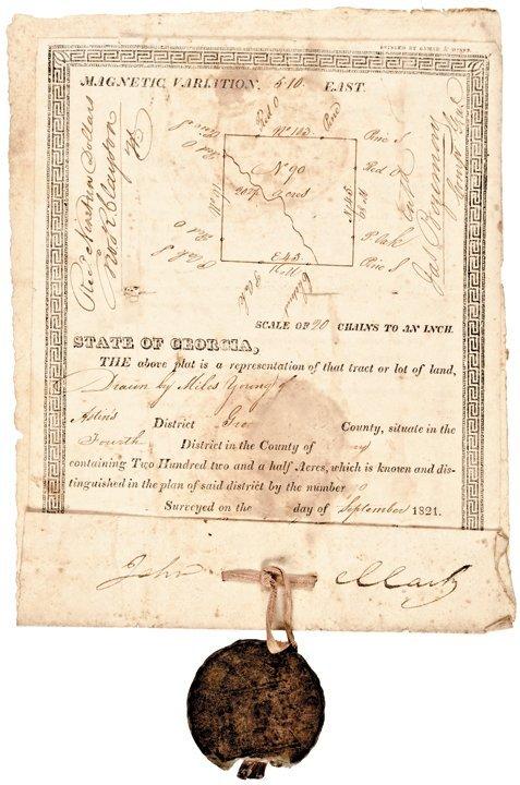 JOHN CLARK, Georgia Lottery Land Grant 1822