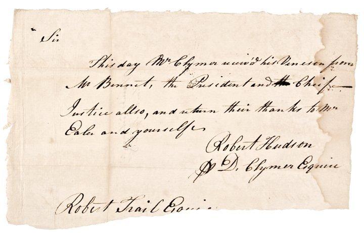 DANIEL CLYMER, Manuscript Document Signed