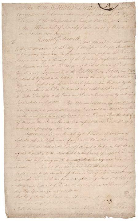 REV. TIMOTHY CUTLER, Autograph Letter Signed 1725