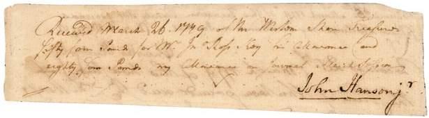 JOHN HANSON, JR.Signed 1779 Document, Pay Receipt
