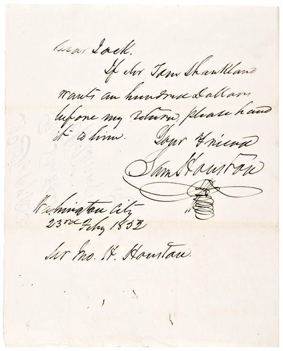 "SAMUEL ""SAM"" HOUSTON Autograph Letter Signed 1852"