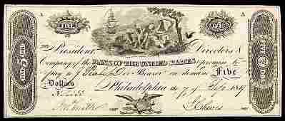 Second Bank of the United States Phil PA 5 Dollars