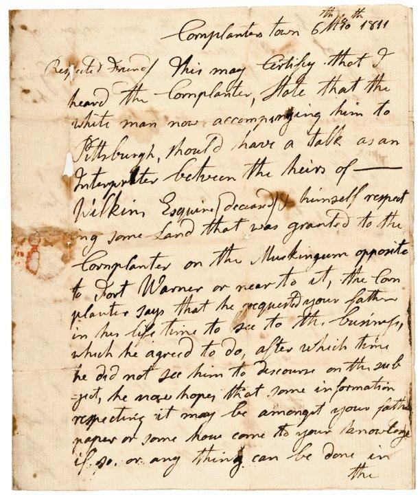 CHIEF CORNPLANTER, Autographed Manuscript Letter