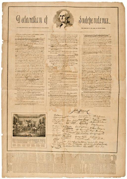 (DECLARATION OF INDEPENDENCE) 1852 Broadsheet