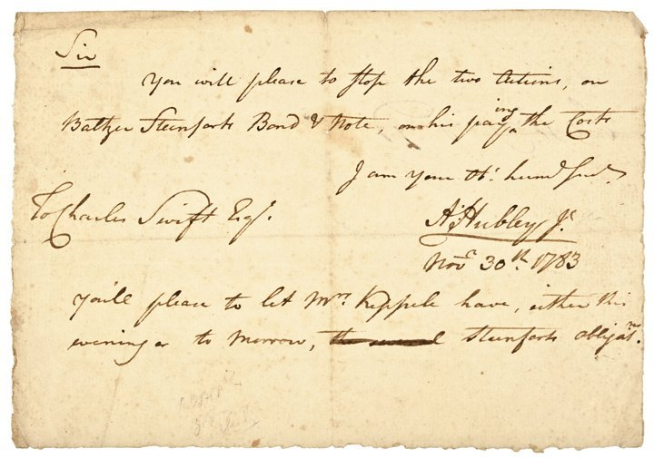 ADAM HUBLEY, JR. 1783 Autograph Document Signed