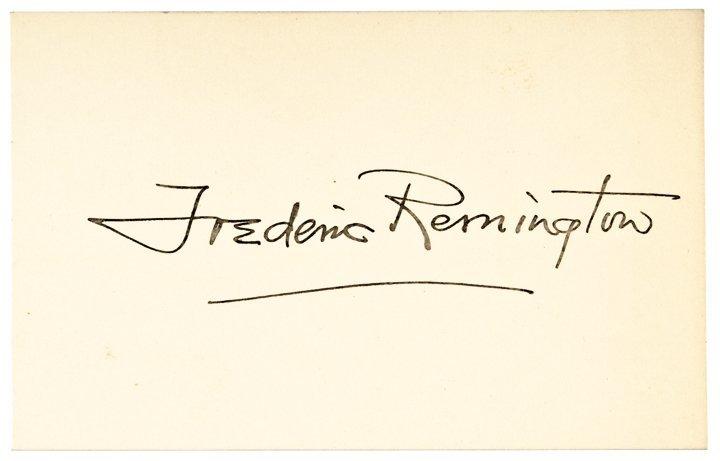 FREDERIC REMINGTON, Bold Signature, On Card