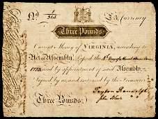 Colonial Currency VA JOHN BLAIR  PEYTON RANDOLPH