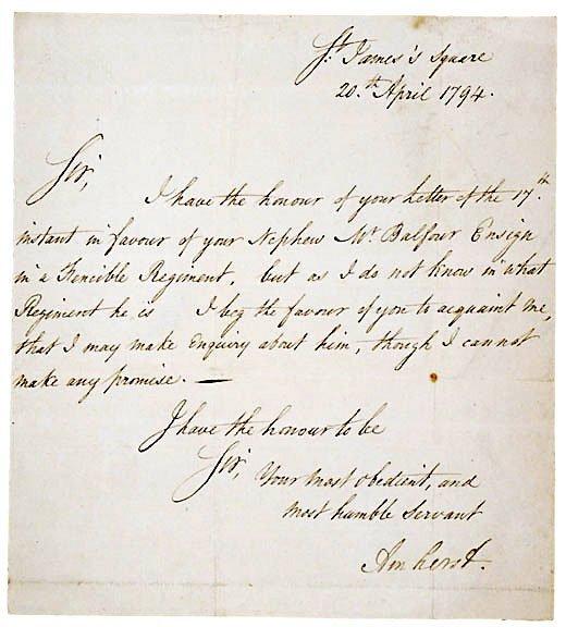 Lot    3: Jeffrey Amherst Letter Signed 1794