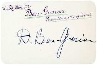 Lot 17: David Ben-Gurion Signed Card