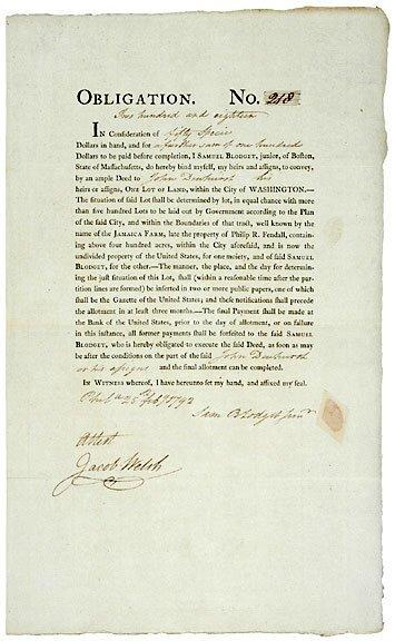 Lot   20:Samuel Blodgett Signed Document 1792