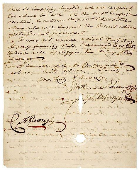 Lot   21:Joseph Bloomfield Signed Letter 1801