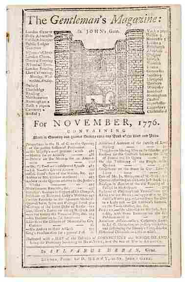 Lot 1366: 1776 Gentlemans Magazine, London