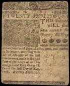 BENJAMIN FRANKLIN Printed 1758 DE. Colonial Note