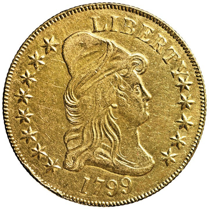 1799 Capped Bust Gold Eagle Breen 6840, Cleaned