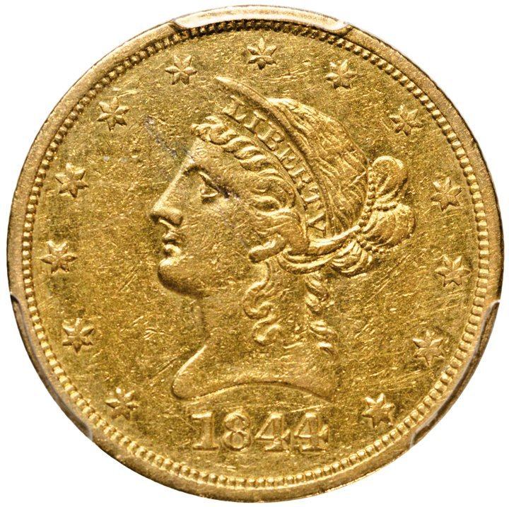 1844-O Liberty Head Ten Dollars Gold Eagle