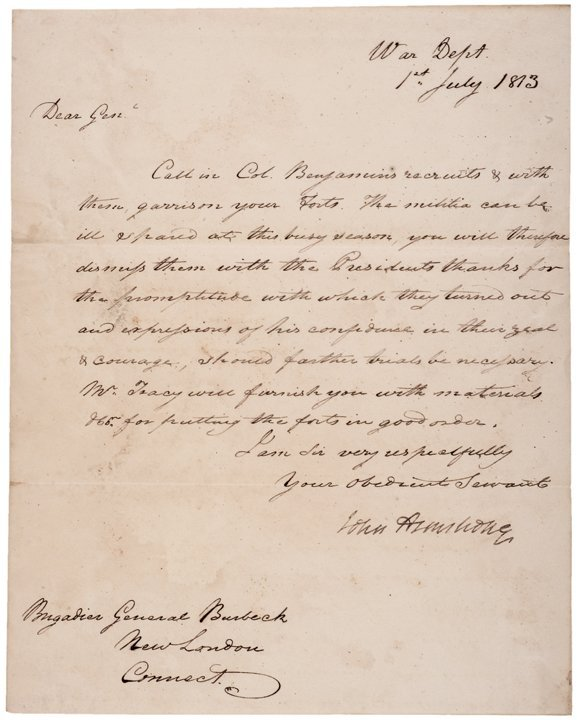 Rare Major General JOHN ARMSTRONG Signed Letter