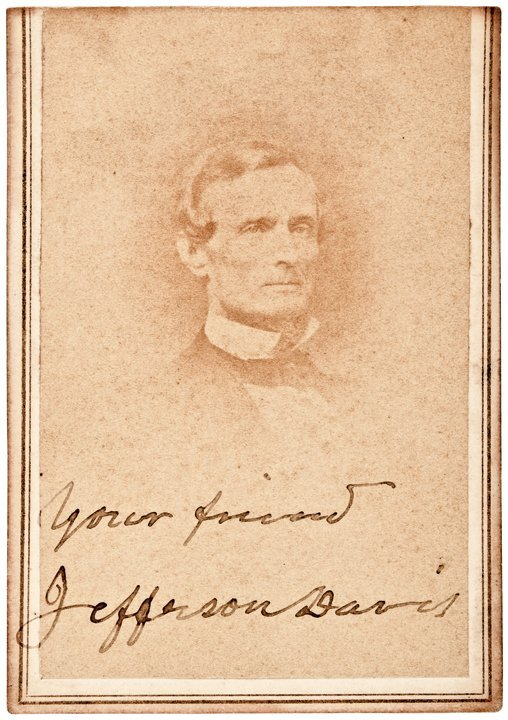 JEFFERSON DAVIS Signed + Inscribed CDV Photograph