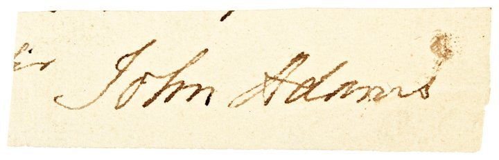 JOHN ADAMS 2nd US President Clipped Signature