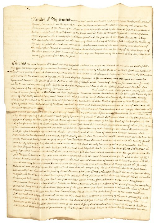 Autograph, LORD JEFFERY AMHERST. 1796 Document