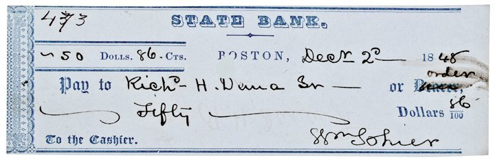 1848 RICHARD HENRY DANA, Personal Endorsed Check