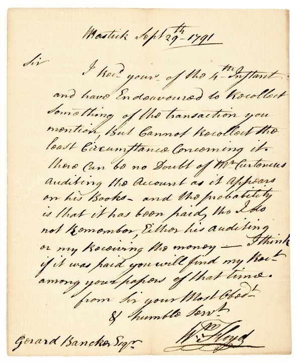 Autograph Letter Signed WILLIAM FLOYD the Signer