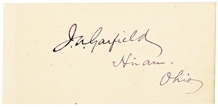 JAMES A. GARFIELD 20th President, Signed Card