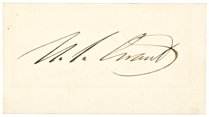 ULYSSES S. GRANT 18th President, Signed Card